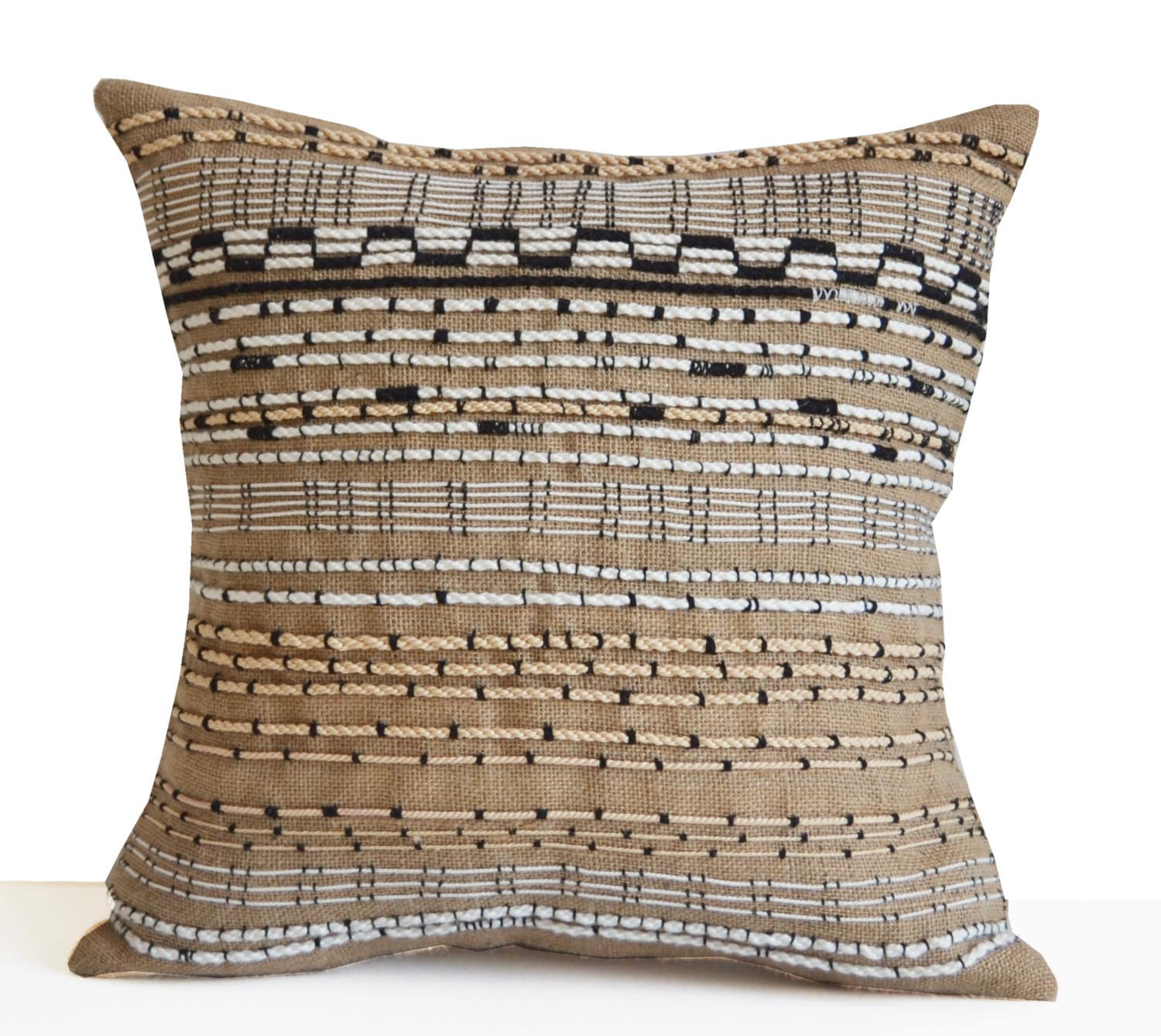 burlap pillow cover boho pillow bohemian pillow woven. Black Bedroom Furniture Sets. Home Design Ideas