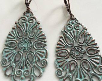 Bohemian Earrings  Patina Earrings  Copper Filigree Earrings  Long Dangle Earrings  Turquoise Patina  Gypsy Dangles