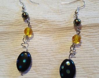 Twist dangly funky blue earrings