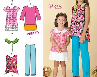 Simplicity 1704, Childs and Girls Dress, Tunic, Pants and Detachable Collars, New Uncut Sewing Pattern size 7-8-10-12-14