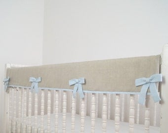 Linen crib bedding, rail guard, rail cover. bumperless crib bedding, boy bedding