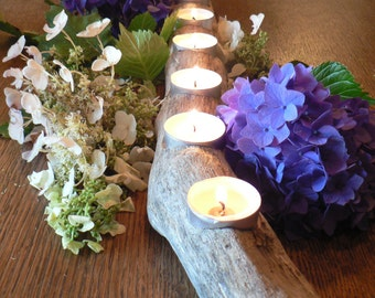 driftwood candle holder 105 driftwood center piece wedding center piece gift idea - Rustic Center