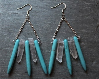 Magnesite and Crystal Quartz Earrings