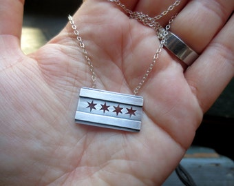 Chicago Flag Sterling Silver necklace