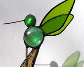 Plant Stake, Stained Glass Hummingbird, Garden Stakes, House Plant Stake, Decoration, Home Decor, Glass Bird, Garden Art, Gift