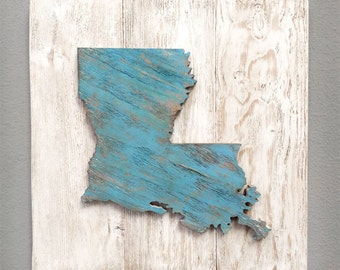"Handcrafted State Wood Cutout Wall Decor (Large 17""x17"") - Solid Wooden Wall Art. State Home Decor. Louisiana, California, Texas, and more"