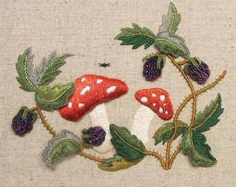Raised Embroidery Kit - TOADSTOOLS & BRAMBLES