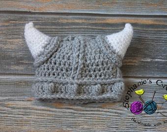 Crochet boy hat baby boy hat viking hat/grey viking hat, photo prop infant boy-MADE TO ORDER