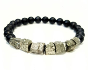 8 mm Faceted Matte Black Onyx Gemstone with Small Pyrite Nugget Accent Beads Stretchy Bracelet
