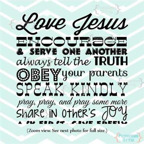 Love Jesus Encouraging Quote Subway Art Vinyl By Proverbsattic