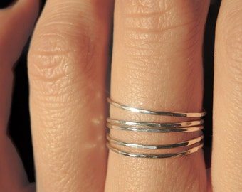 5 sterling silver teeny tiny delicate stacking rings / Ultra thin stacking rings/ Everyday jewelry