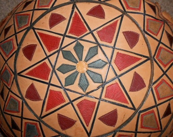 VINTAGE LEATHER MOSAIC Pillow*Native American Southwestern