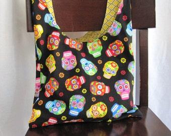 Day of the dead hobo bag, cloth skull bag, sling bag