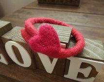 Red felted bangle bracelet with needle felted heart