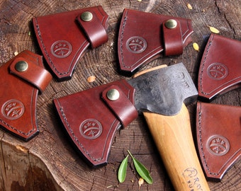 Hand-made hand-stitched leather sheath for Gransfors Bruks Small Forest Axe