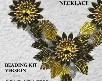 Kanzashi Flower Necklace - Beading KIT - version Scarabaeus