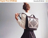 Non leather backpack / hip backpack / unique canvas school bag / strong & durable design / black pvc and canvas / MeDusa bags