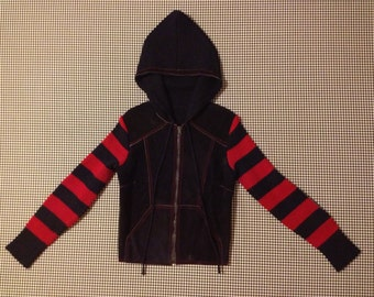 1970's, semi-cropped, hooded, knit and suede jacket, in navy blue and red, Women's size Small.