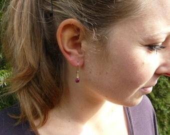 SALE 15% OFF Genuine Ruby Gold Earrings. Teardrop Earrings. July birthstone. Dainty Earrings. Gold Filled Earrings. Healing Crystal.