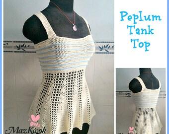 Peplum tank top pdf crochet pattern ( size 2XS - 2XL )