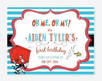 Dr Seuss Birthday Sign / Cat in the Hat First Birthday / Dr Seuss Party Decor / Digital