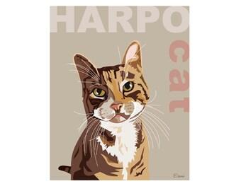 Pet portrait in a semi pop-art style. Cat portrait.