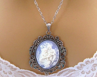 Blue Cameo Necklace: Lovers in the Garden Light Blue Cameo Necklace, Antiqued Silver, Romantic Blue Cameo, Renaissance Jewelry