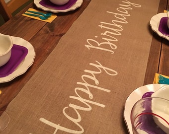 """Burlap Table Runner 16"""" or 18"""" wide with Happy Birthday - Birthday runner Holiday decorating Home decor Party runner"""