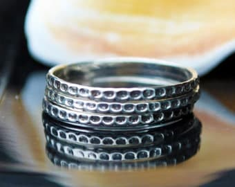 Silver Stacking Ring - Patterned Silver Ring - Textured Silver Band - Dainty Ring - Petite Ring - Simple Silver Ring - Sterling Silver Ring