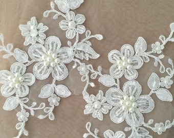 Beaded Alencon Lace Applique Pair for Wedding Garters, Veils,Gowns