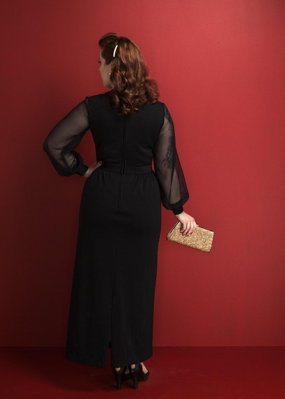 Vintage Black Chiffon Cocktail Dress