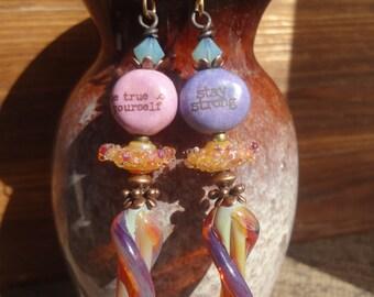RESERVED J, Positive Affirmation Earrings, Quote Jewelry, Inspirational, OOAK, Artisan Lampwork Glass, Artisan Ceramic, Lampwork Headpins