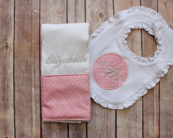 Monogrammed Girl's Bib and Burp Cloth Set - Personalized Pink and Grey Monogrammed Gift Set for Baby Girl - Baby Girl Burp Cloth