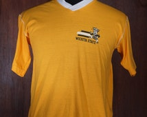 70's Wichita State Shockers V-Neck T-Shirt Made in USA Size M.