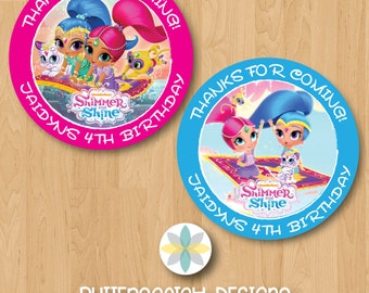 Personalized Shimmer and Shine Birthday Thank You Favor Tag or Sticker Label - Printable/Digital File