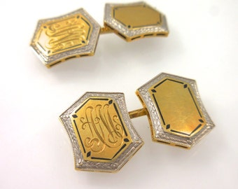 Cuff links Monogram 14 Karat Two Toned Gold Etched