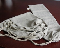 Linen bread bag set, Natural raw linen bag set of 3 with handmade flax cord - all sizes, pure grey linen food storage, linen bread loaf bag