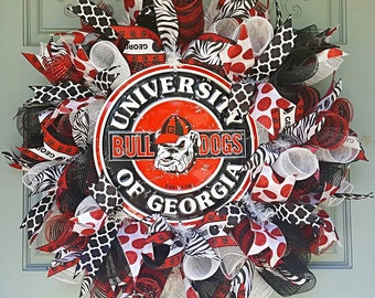 College Wreath, GA bulldogs, GA Wreath, Deco Mesh GA Wreath, Deco Mesh Wreath, Dawgs decor, Georgia Wreath, Georgia Decor
