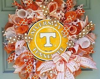 Tennessee Wreath- Deco Mesh Wreath- Tennessee Vols Wreath-Collegiate Decor-VOLS