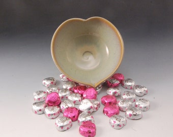 Handmade Heart Shaped Tan Stoneware Bowl