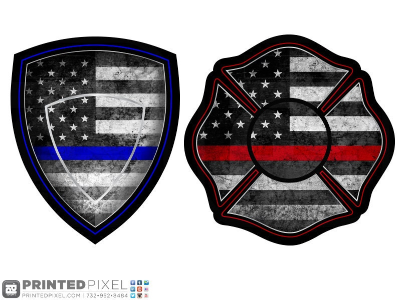Thin Blue Line Thin Red Line Police Shield Or Maltese Cross