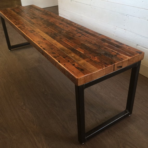 Bench from Reclaimed Fir with Square Tube Legs
