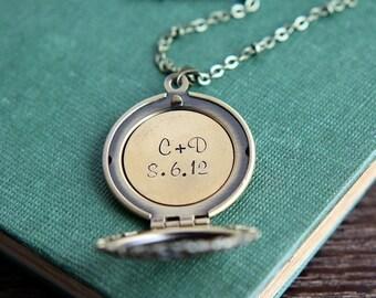 SALE Personalized Locket, Locket Pendant, Personalized Locket Necklace, Anniversary necklace, Initial Jewelry,  Brass Locket, Bridesmaid Jew