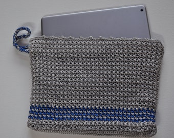 iPad Case, Reading Tablet Case, Oversized Foldable Clutch, Crochet Tablet Cover, Gift for Her, Blue and Gray Purse, Under 25, Back to School