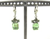 HOLIDAY SALE-Vintage Catherine Popesco Light Green Swarovski Crystal and Sterling Silver Lever Back Earrings-Made In France