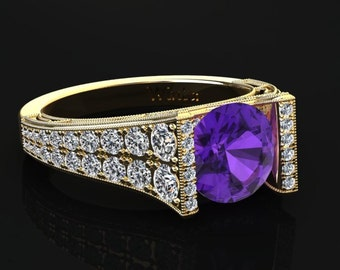 Amethyst Engagement Ring Amethyst Ring 14k or 18k Yellow Gold Matching Wedding Band Available W24PUY