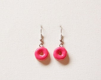 Pink strawberry donut earrings