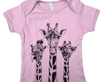 Giraffe Baby Rip short Lap Tee Hand Screen Printed
