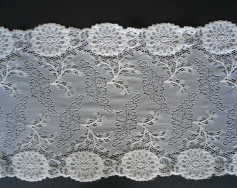 Galloon Lace (Stretch) - White. 9 inches / 230mm wide. Lingerie /Sewing Crafts