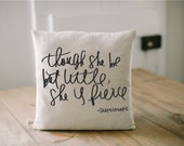 Pillow Cover, Little & Fierce, 16 x 16, home decor, present, new baby gift, nursery pillow, newborn, sweet dreams, cushion cover, throw